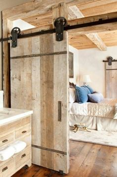 Barn doors today are becoming part of interior decoration in many houses because they are stylish. When building a barn door on your own, barn door hardware kit The Doors, Wood Doors, Sliding Doors, Entry Doors, Timber Door, Front Doors, Front Entry, Rustic Bedroom Design, Master Bedroom Design