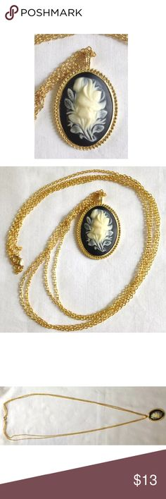 """Beautiful Vintage Carved 3D Pendant Necklace Beautiful Vintage Carved 3D Pendant Necklace Double Strand Chain  Faux gold link chain - two strands, one clasp - length is 36"""" Pendant is approximately 2"""" top to bottom & 1.5"""" across.   No identifying markings anywhere on the necklace.   Thank you so much! Unknown Jewelry Necklaces"""