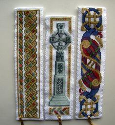 Textile Heritage Celtic cross stitch bookmarks.