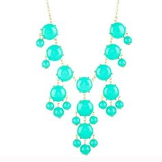 "T&J Designs Bubble Necklace This is a quality piece!! T&J Designs beautiful Aqua color Bubble Statement necklace!! This will make any outfit pop! Glass crystals, nickel free! 16"" length plus 4"" extender ! T&J Designs Jewelry Necklaces"