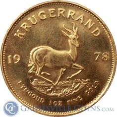 1 oz South African Gold Krugerrand - Random Dates Gold Krugerrand, Gold And Silver Coins, Old Norse, Gold Bullion, Old English, Coin Collecting, 1 Oz, Precious Metals, African