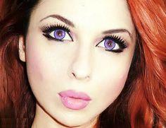 albums of red hair violet eyes Bridal Makeup For Blue Eyes, Makeup For Small Eyes, Blue Eye Makeup, Eye Makeup Tips, Smokey Eye Makeup, Makeup Trends, Red Hair Violet Eyes, Pink Eyes, Contact Lenses For Brown Eyes