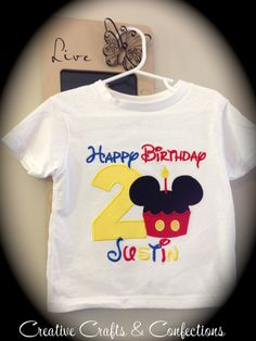 Mickey Mouse Clubhouse Inspired Micky Mouse Cupcake Birthday Number T-Shirt- Boys, Girls, Toddlers- You Choose Phrase, Name, and Colors on Etsy, $30.00