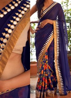 Blue Half N Half Lace Border Work Mirror Work Georgette Party Wear Sarees http://www.angelnx.com/Sarees/Designer-Sarees