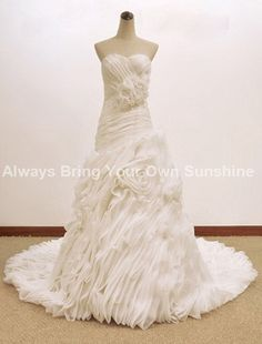 Handmade flower Wedding dress, plus size Sweetheart Wedding Dresses, wedding dress maternity 2014, real wedding dress, Couture Gown on Etsy, $349.00