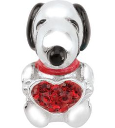 ae7e7de01 Wear your heart on your sleeve with this sweet sterling silver Peanuts by  Persona charm featuring Snoopy gently embracing a sparkling red Austrian  crystal ...