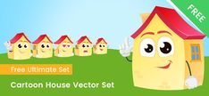 A Cartoon house character made in a set of 6 different poses. This free house character is perfect for kids related designs. Cartoon House, A Cartoon, Vector Characters, Free Vector Clipart, House Vector, Character Home, Home Free, Family Guy, Clip Art