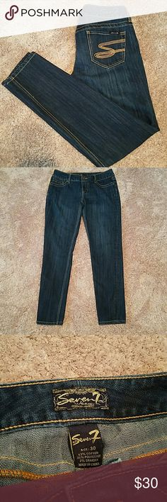 Seven7 Women's Straight Skinny Jean Seven7 Women's skinny straight leg Jean in size 30. Perfect condition and great for those who need a little extra room in the calf! Seven7 Jeans Straight Leg