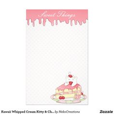 Kawaii Whipped Cream Kitty & Cherry Cake Stationery