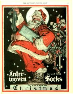 1921 Inter-Woven socks ad, illustrated by Post cover artist J.C. Leyendecker. The Saturday Evening Post.