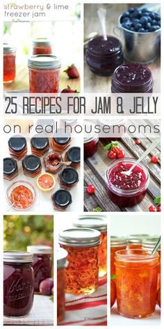 Summer is almost here and all the fresh produce in your local store is just begging to be made into these 25 Recipes for Jam & Jelly! Whether your favorite spread is fruit, citrus, or something a little savory, you'll find a recipe for it here! Jelly Recipes, Jam Recipes, Canning Recipes, Homemade Jelly, Canned Food Storage, Freezer Jam, Fruit Jam, Jam And Jelly, Sauces