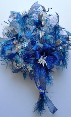 Regal Royal Blue and White Oasis Mesh Wreath by WredWrockWreaths, $145.00