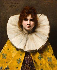 Girl with a ruffled collar - Italian painter Juana Romani 1869 - 1924