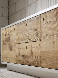 Wooden sideboard with doors with drawers TOLA by Miniforms Recycled Furniture, Pallet Furniture, Cool Furniture, Furniture Design, Furniture Storage, Handmade Furniture, Wood Table Design, Furniture Inspiration, Wood Doors