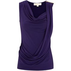 MICHAEL Michael Kors Draped Stretch Jersey Top (€115) ❤ liked on Polyvore featuring tops, shirts, purple, sleeveless tops, michael michael kors, drapey top, shirts & tops, sleeve less shirts and draped sleeveless top