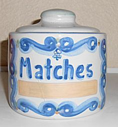 M A Hadley Pottery Blue/White Decorated Wall Match Box. Click on the image for more information.
