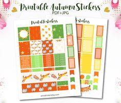 Autumn Printable Planner Stickers for Erin Condren, Planner DIY, Weekly Planner…