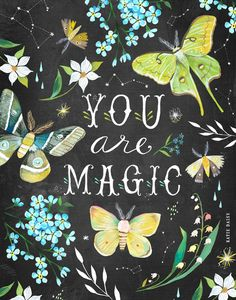 You Are Magic by Katie Daisy Acrylic Artwork, Mothers Day Quotes, Magic Art, Canvas Prints, Art Prints, Birthday Cards, Painting, Wall Art, Wall Mural
