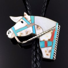 ZUNI STERLING SILVER MOSAIC INLAY HORSE BOLO TIE by HELEN & LINCOLN ZUNIE