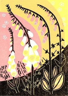 Digitalis by Clare Curtis, foxglove, print, lino, nature, plant, flower, colour, summer, illustration, printmaking, texture