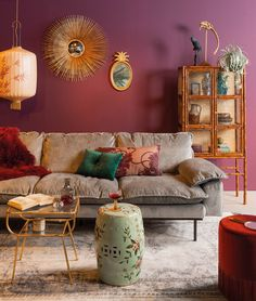 A bohemian interior in 5 steps – All For Decoration Home Living Room, Living Room Furniture, Living Room Decor, Green Furniture, Furniture Stores, Bedroom Decor, Wall Decor, Bohemian Interior, Modern Bohemian Decor