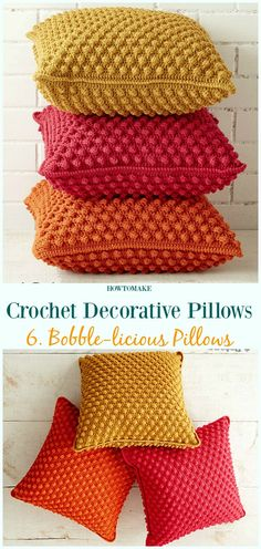 Bobble-licious Pillows Crochet Free Pattern - #Crochet; Decorative #Pillow; Free Patterns