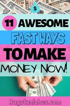 Looking for Fast money making ideas?  Here are 11 awesome quick cash ideas, for when you want to make money online, or from home.  These include surveys that pay cash, money making apps, selling online, Freelancing, Renting your space, earning cashback, usability testing, delivering stuff, micro tasks online and much more. #quickcash #extracash #makemoneyapps #cashback #freelancing Make Money Fast Online, Money Now, Make Easy Money, Need Money, Make Money Blogging, Make Money From Home, How To Make, Cash Money, Surveys That Pay Cash