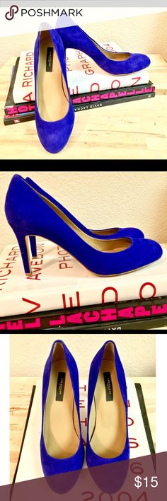 Ann Taylor Suede Almond Toe Pumps By Ann Taylor- all upper leather. Almond toe pumps. 2-3 inch pump. Very comfortable! Lightly worn. Color looks blue, buts it's a mix of purple and blue. Great statement shoe to a plain outfit. Ann Taylor Shoes Heels