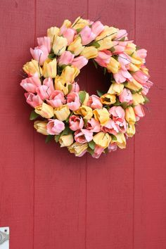 Tulip Wreath  Spring Tulips Wreath  Shabby Chic by TwigTherapy