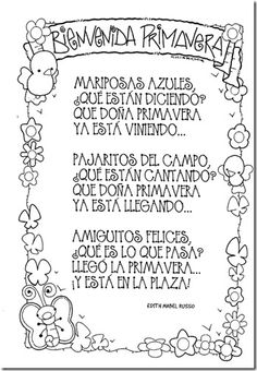 Dibujos para colorear primavera Spanish Teacher, Spanish Classroom, Teaching Spanish, Teaching Resources, Spanish Songs, Spanish Lessons, Vintage Funny Quotes, Preschool Poems, Spring Poem