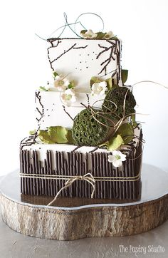 earthy modern wedding cake 3 tier square