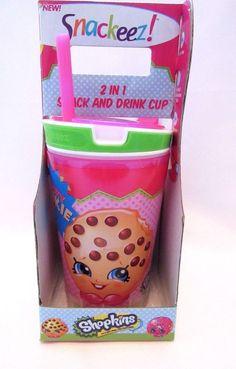 Snackeez Shopkins Snack And Drink Cup Kooky Cookie Kids Drinkware #MooseEnterprise