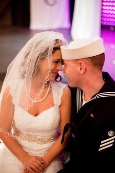Dress blues military wedding