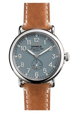 Love the gray and brown color combo of this Shinola Watch! 'The Runwell' Leather Strap Watch, 41mm