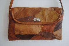 Leather Patchwork Bag  Brown Tan Medium Purse by hunterdear, $28.00