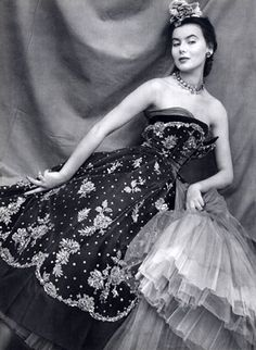 Model wearing a Christian Dior evening gown, 1950