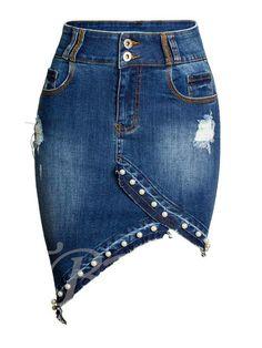 Pearl Pacakge Hip Irregular Pearl Denim Skirt Large Size Women Hole Jeans Skirt High Waist Saias Cowboy Denim Skirts Size S Color as the picture Jean Diy, Diy Vetement, Mode Jeans, Denim Ideas, Body Con Skirt, Denim Outfit, Mode Inspiration, Jean Skirt, Denim Fashion