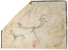 """""""Estudio de hombro derecho, pecho y parte superior de brazo de hombre"""", Miguel Ángel (1536-1541)"""