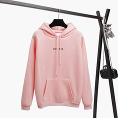 Oh Yes Letter Harajuku Print Pullover Thick Loose Women Hoodie Casual Tops 2018 Fsdhion Autumn Winter Warm Sweatshirt XXL Fleece Hoodie, Hooded Sweatshirts, Hoodie Jacket, Sweat Shirt, Thick Hoodies, Tracksuit Tops, Gris Rose, Loose Tops, Casual Tops
