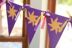 Free Printable Sun Banner Bunting for Rapunzel Tangled Party