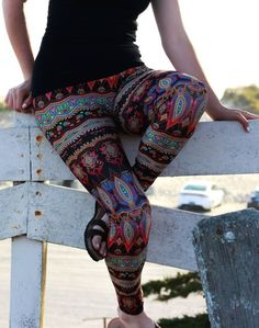 541f5bee82fd92 Cant get enough color  These boho leggings are swimming with it. Theyre  vibrant enough