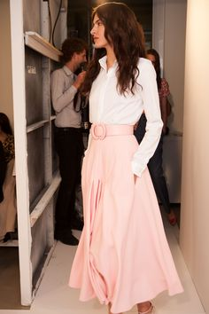 Blush and white! So happy tea skirts are huge for Spring 2014!
