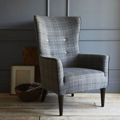 West Elm offers modern furniture and home decor featuring inspiring designs and colors. Create a stylish space with home accessories from West Elm. Living Room Seating, My Living Room, Plaid Chair, Grey Chair, Masculine Home Offices, Modern Furniture, Home Furniture, Wingback Chair, Interior Inspiration