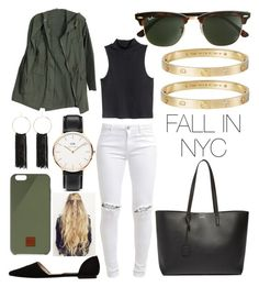 """""""Fall in nyc"""" by noah0421 ❤ liked on Polyvore featuring FiveUnits, MANGO, H&M, Yves Saint Laurent, J.Crew, Native Union, Bebe, Cartier and Daniel Wellington"""