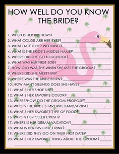 Country Wedding Cakes How Well Do You Know The Bride Game For Bridal Shower Bridal Shower Questions, Fun Bridal Shower Games, Bridal Shower Planning, Bridal Games, Bridal Shower Party, Wedding Games, Bridal Shower Decorations, Bridal Showers, Bridal Shower Invitations