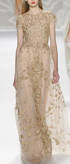 White and Gold Wedding. Gold Bridesmaid Dress. Soft and Romantic. Monique Lhuillier 2013-2014