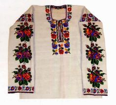FolkCostume&Embroidery: Costume and Embroidery of Bukovyna, Ukraine, part 2 khlopianka. In the mid to late 20th cent. floral embroidery became popular.