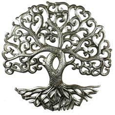 Handmade Folk Art Haiti Tree of Life Curly Steel Drum Metal Wall Art Decor Metal Tree Wall Art, Metal Art, Tree Wall Decor, Wall Art Decor, Tree Artwork, Steel Drum, Tree Sculpture, Wall Sculptures, Tree Of Life