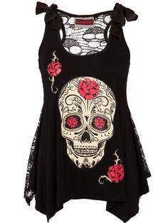 """Women's """"Skull Candy"""" Tank with Skull Lace Back by Jawbreaker (Black)"""