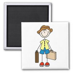 Vacation Stick With Luggage Magnet Refrigerator Magnets